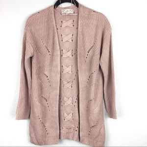 Blush Open Cardigan Sweater with Crisscross Detail